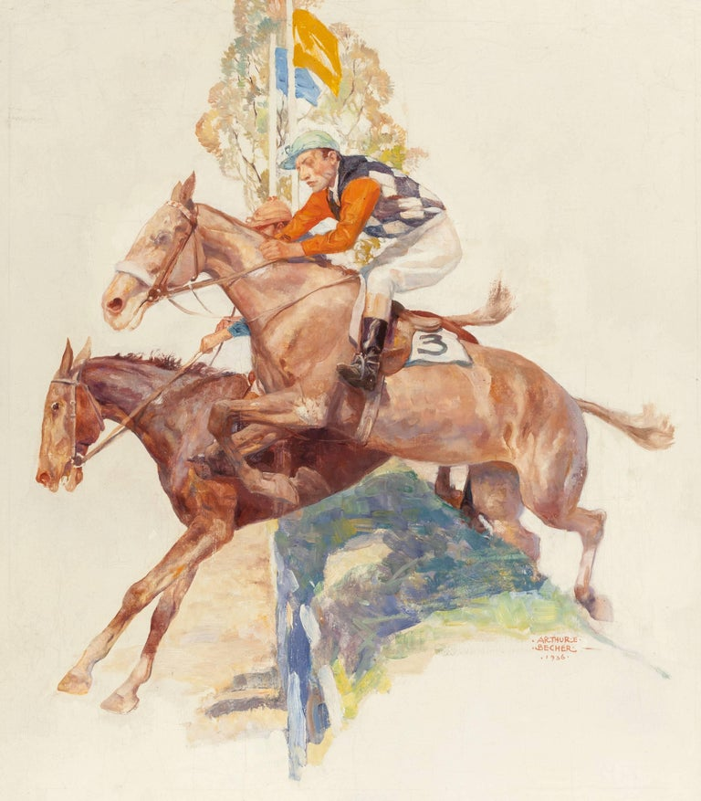 Arthur E. Becher Figurative Painting - Steeple Chase