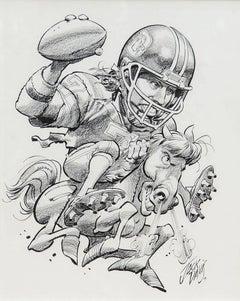 Denver Broncos John Elway NFL Football Illustration; Original Art