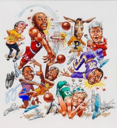 Basketball Superstars Comic Illustration; Original Art