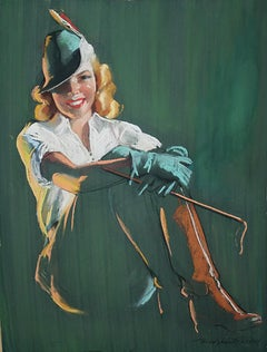 Blonde Woman in Green Equestrian Garb