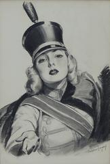 Sweet Caporal Cigarettes 'Majorette' Illustration