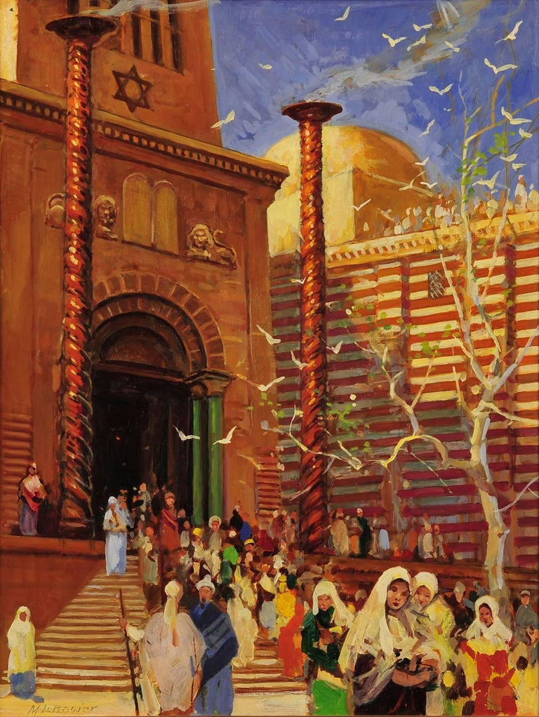 Maurice L. Bower Figurative Painting - The Holy Temple, Biblical Illustration