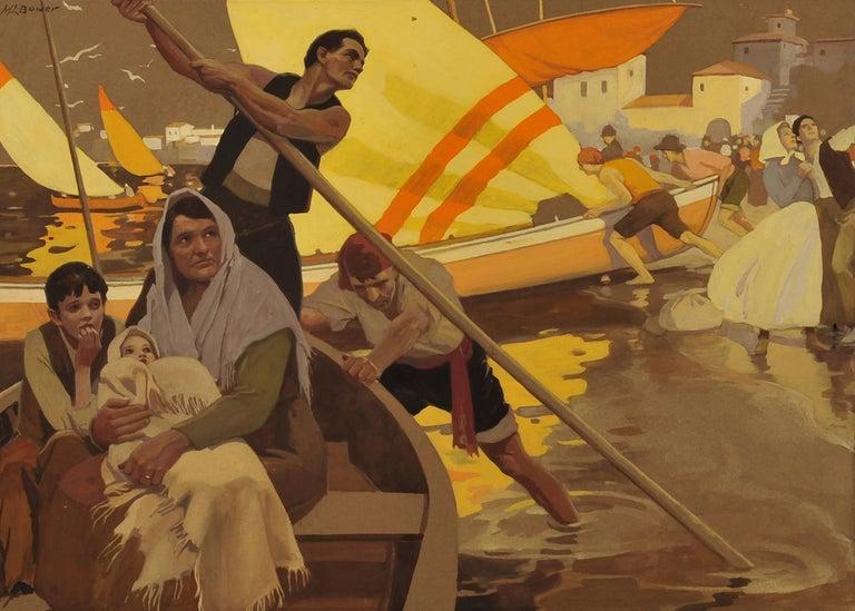 Maurice L. Bower Figurative Art - Family Escape, Biblical Illustration