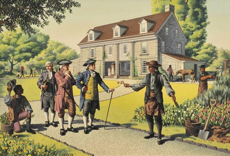 Simon Greco Figurative Painting - Colonial Men Conversing