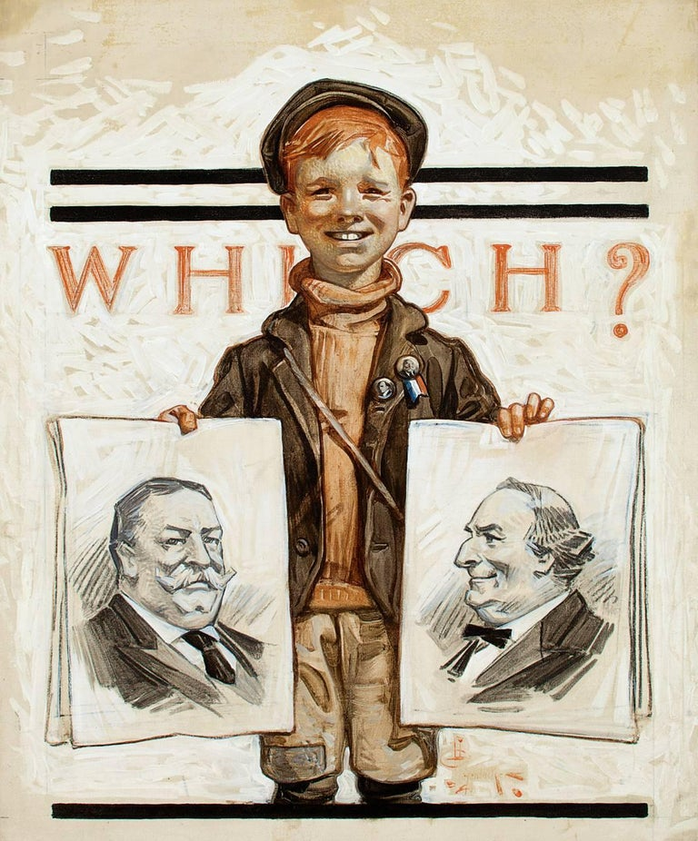 Joseph Christian Leyendecker Figurative Painting - Which One? Saturday Evening Post Cover