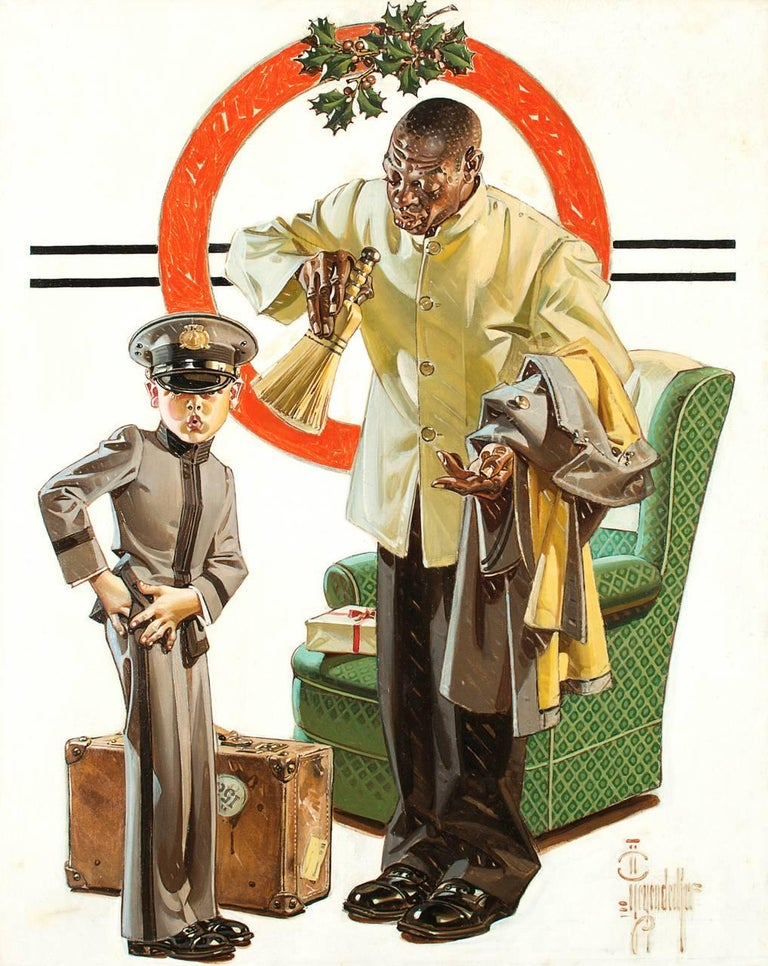 Joseph Christian Leyendecker Figurative Painting - Tipping The Porter, Saturday Evening Post Cover