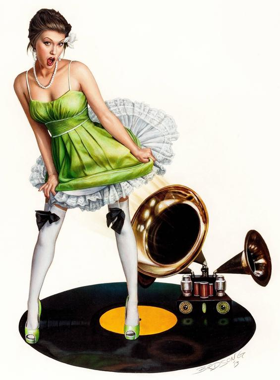 Keith Birdsong Portrait Painting - Girl with Victrola