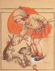 Little Girl Feeding the Bunnies, Probable Magazine Cover