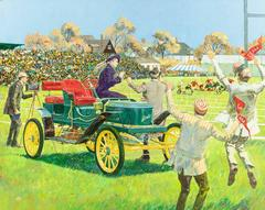 Back For the Big Game, 1909 Stanley Steamer, Calendar Illustration