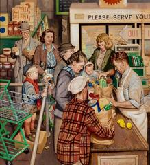 Grocery Line, Saturday Evening Post Cover