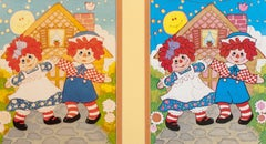 Raggedy Ann and Andy, Original Drawing and Puzzle Diptych
