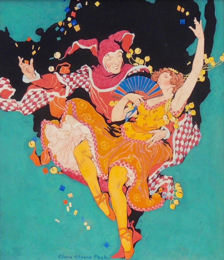 Clara Peck Figurative Painting - Frolicking Harlequin and Ballerina, Theatre Magazine Cover