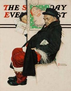 Santa on Train, Saturday Evening Post Cover
