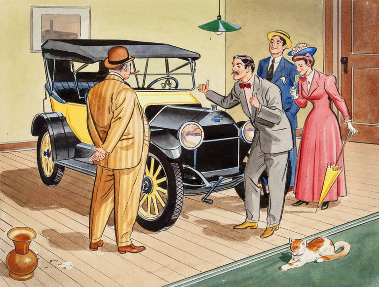 Unknown Figurative Art - Old Chevy Touring Car