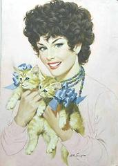 Pretty Girl with Kittens