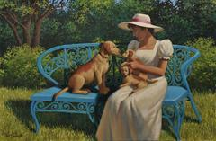 Woman on Park Bench with Dogs