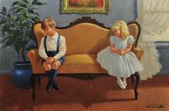 Kids Sitting on Love Seat