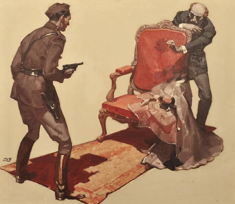 mead schaeffer 39 the dead ride hard 39 painting for sale at 1stdibs. Black Bedroom Furniture Sets. Home Design Ideas
