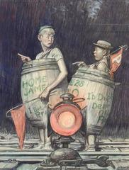 Two Young Sports Fans in Barrels