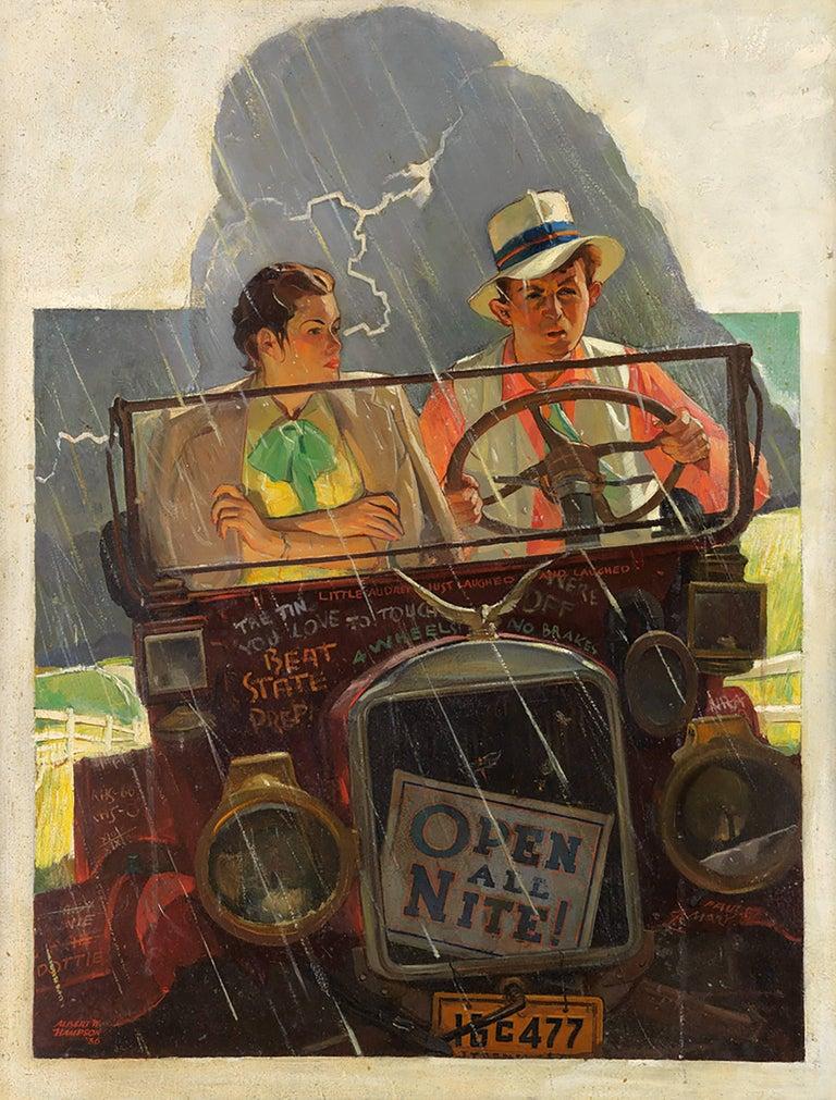 "Albert Hampson Figurative Painting - ""Caught in the Rain"" Alternative Version of the Saturday Evening Post Cover"