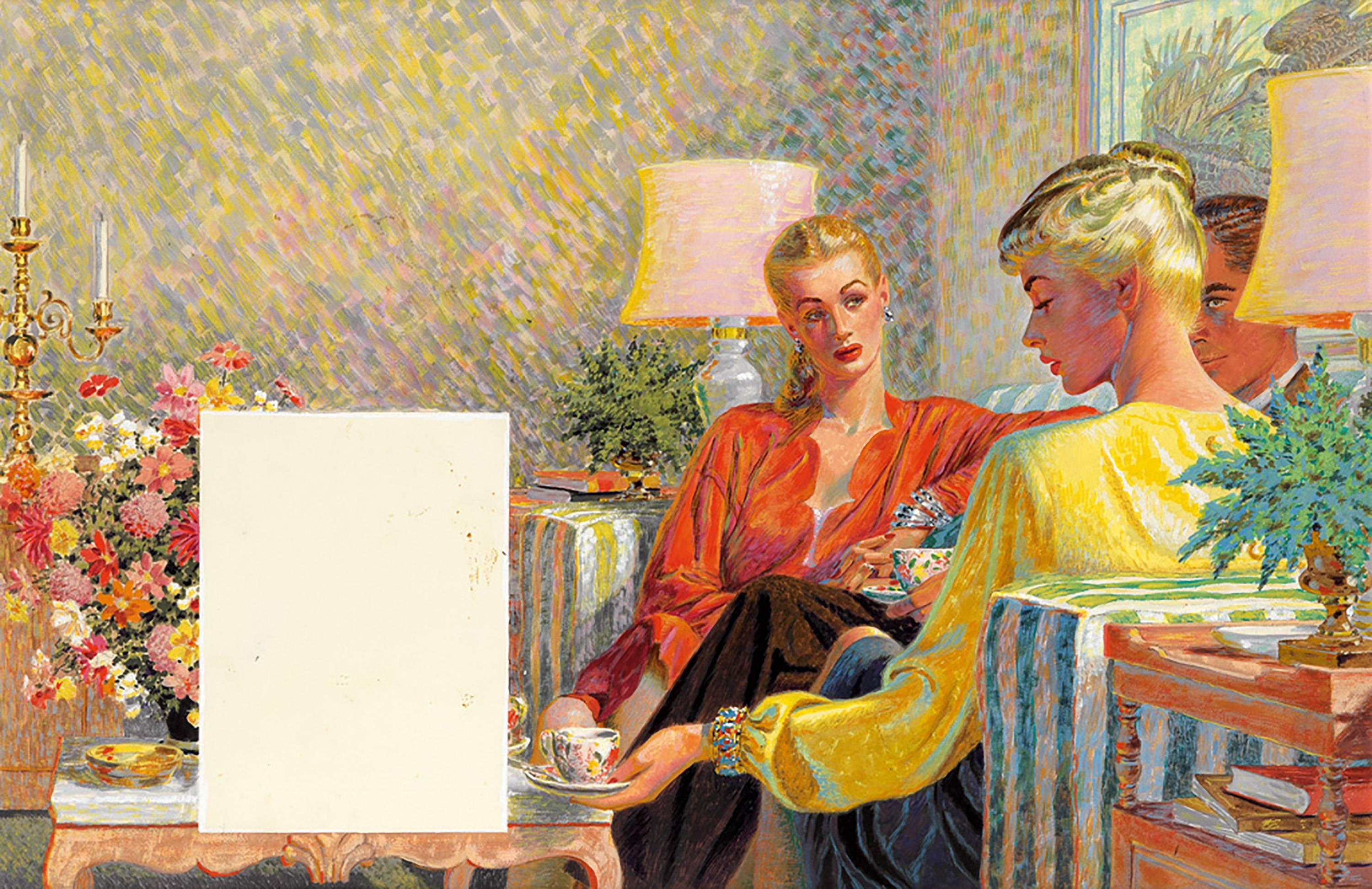 """""""The Clever Sister."""", Story Illustration for Woman's Home Companion"""
