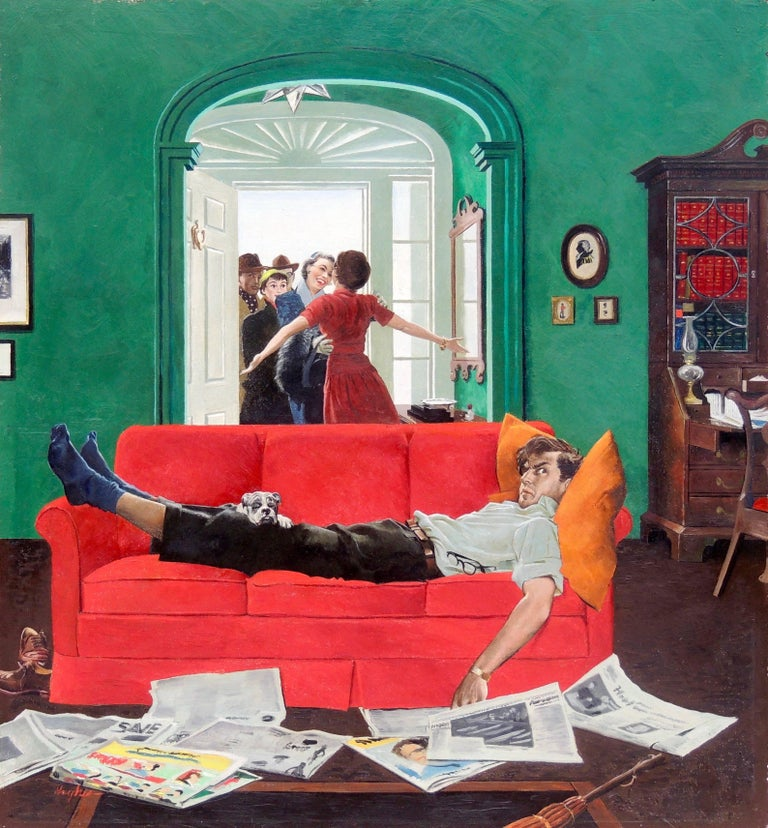 George Hughes Figurative Painting - Sunday Visitors, Saturday Evening Post Cover