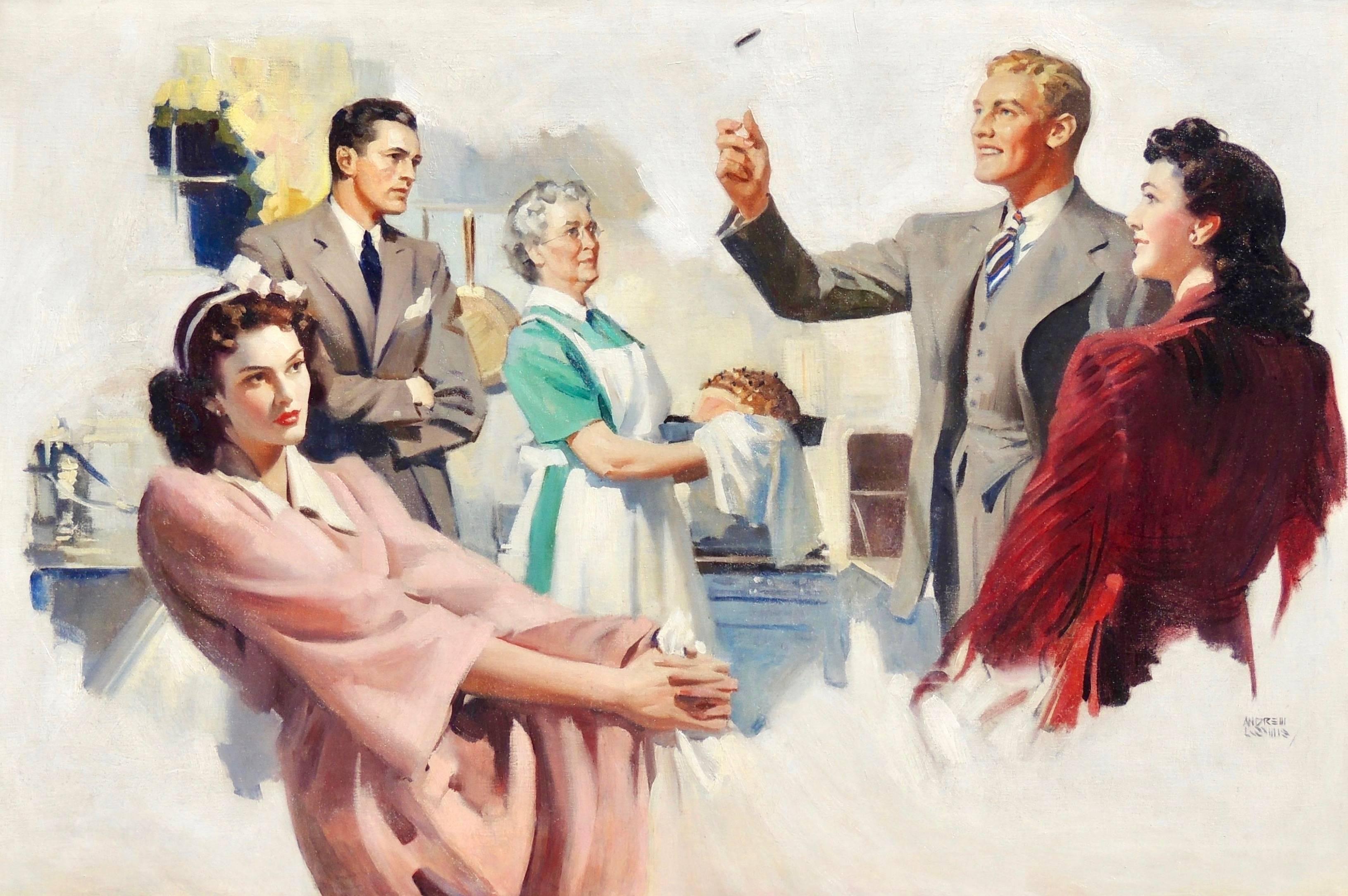 Man Flipping a Coin, Probable Interior Magazine Illustration, 1942