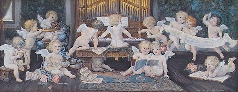 Albertine Whelan Figurative Painting - Music Playing Cupids