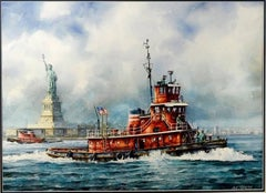 The Tug Boat Brian McAllister off Liberty Island with Statue of Liberty in
