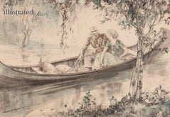 Couple in a Canoe, Saturday Evening Post Illustration