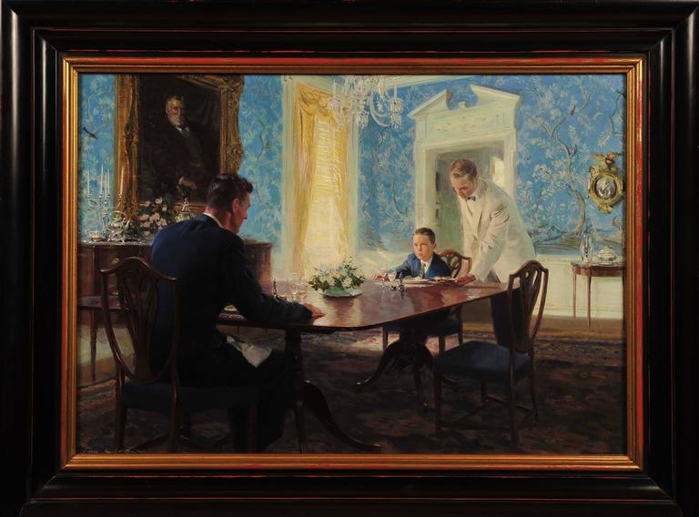 Tom lovell the dining room painting for sale at 1stdibs for Dining room paintings sale