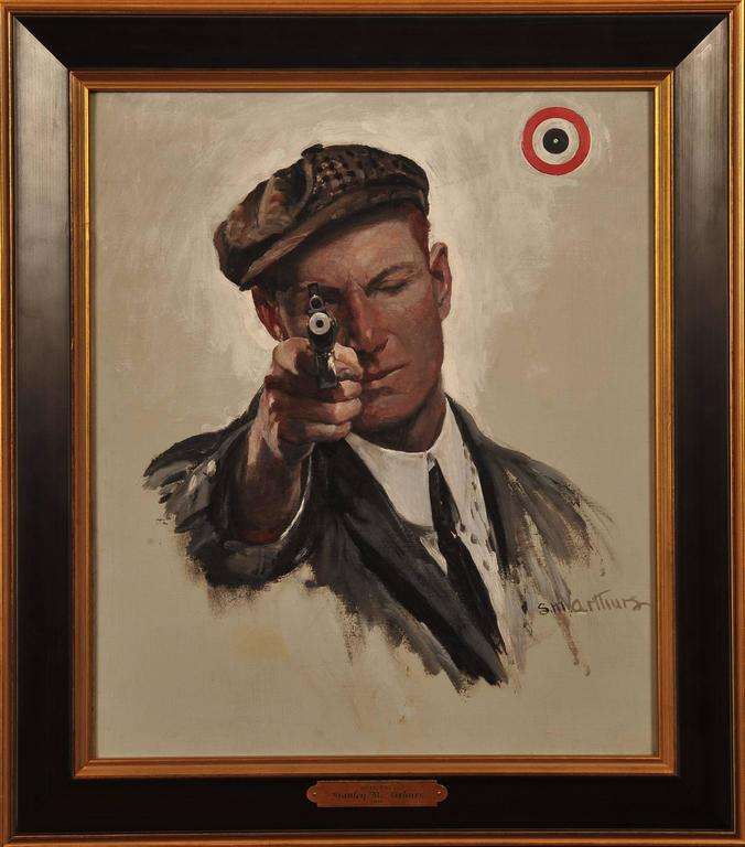 Bulls Eye, Saturday Evening Post Cover - Painting by Stanley Massey Arthurs