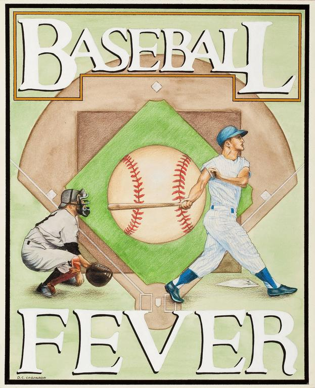 Group of Four: Baseball Themed Illustrations - Painting by Unknown