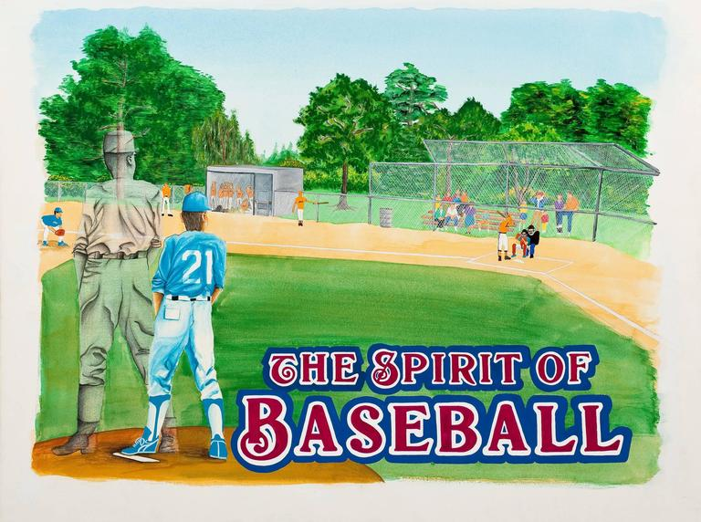 Group of Four: Baseball Themed Illustrations - Gray Figurative Painting by Unknown
