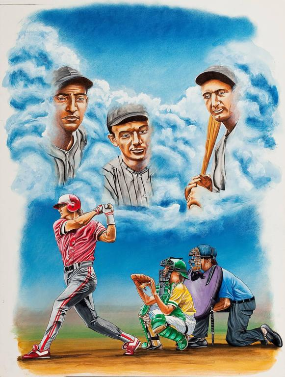 Medium: Watercolor, Gouache & Charcoal on Board Date: 1950s Dimensions: Various Sizes Signature: Unsigned Contact for exact dimensions.   AMERICAN ARTIST (20th Century) Group of four: baseball themed illustrations