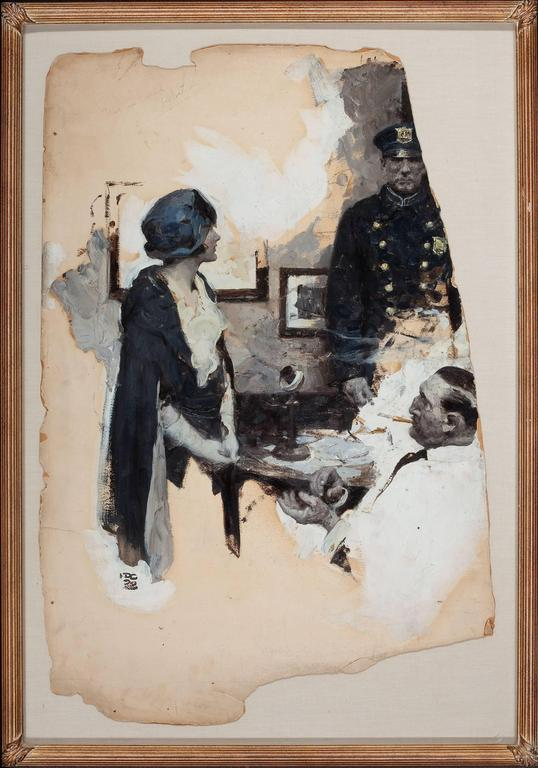 At the Precinct, Story Illustration - Painting by Dean Cornwell