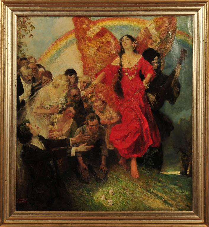 Woman in Red with Wings - Painting by Arthur E. Becher