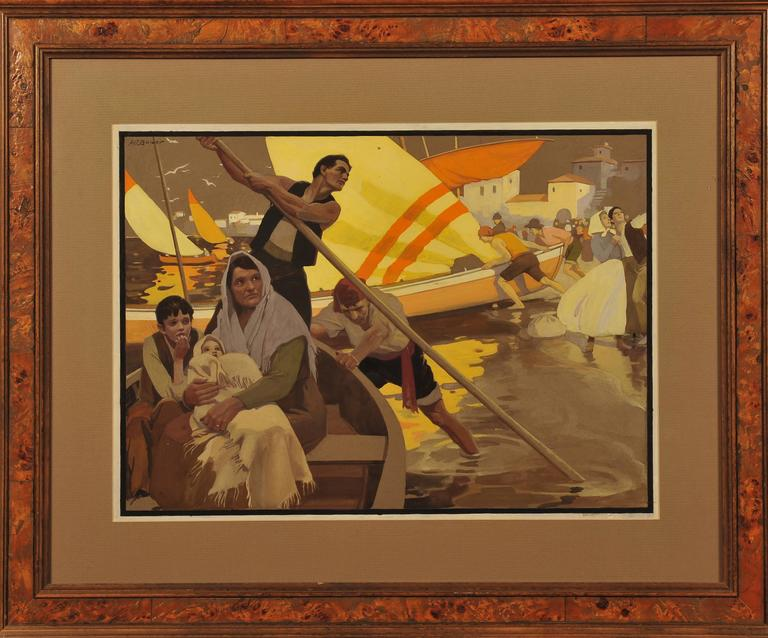 Family Escape, Biblical Illustration - Art by Maurice L. Bower
