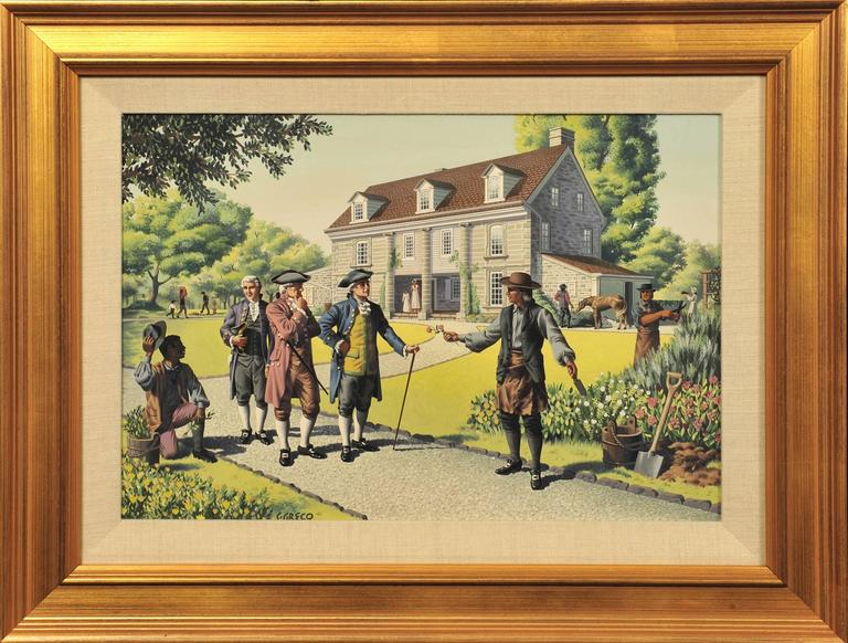 Colonial Men Conversing - Painting by Simon Greco