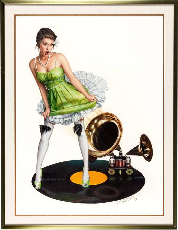 Girl with Victrola - Painting by Keith Birdsong
