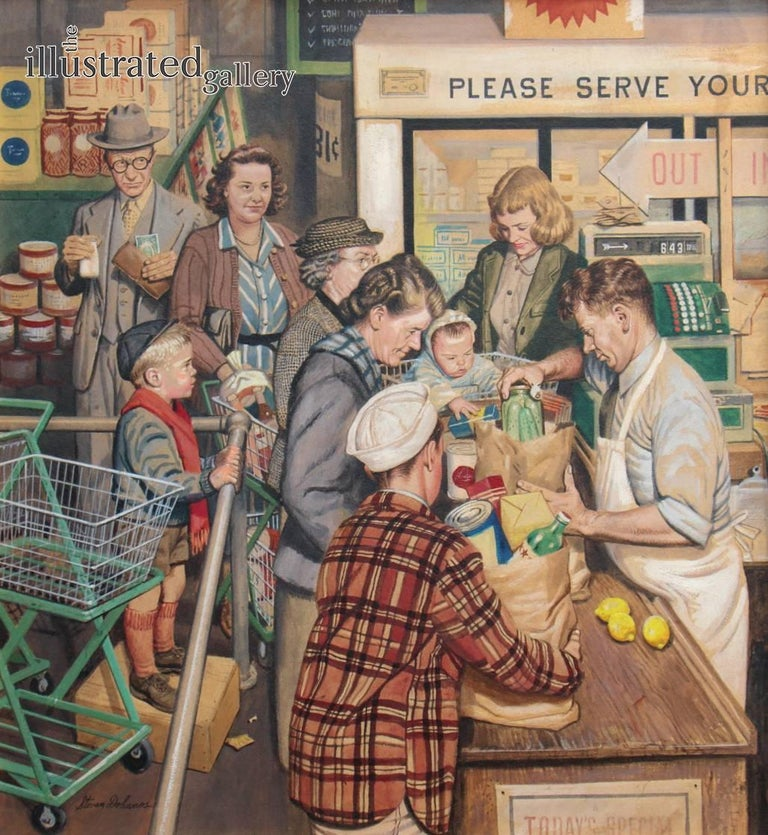 Stevan Dohanos Figurative Painting - Grocery Line, Saturday Evening Post Cover