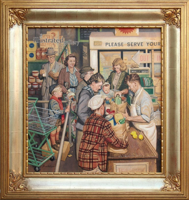 Grocery Line, Saturday Evening Post Cover - Painting by Stevan Dohanos