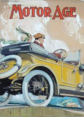 Original 1913 Motor Age Magazine Cover Art Illustration