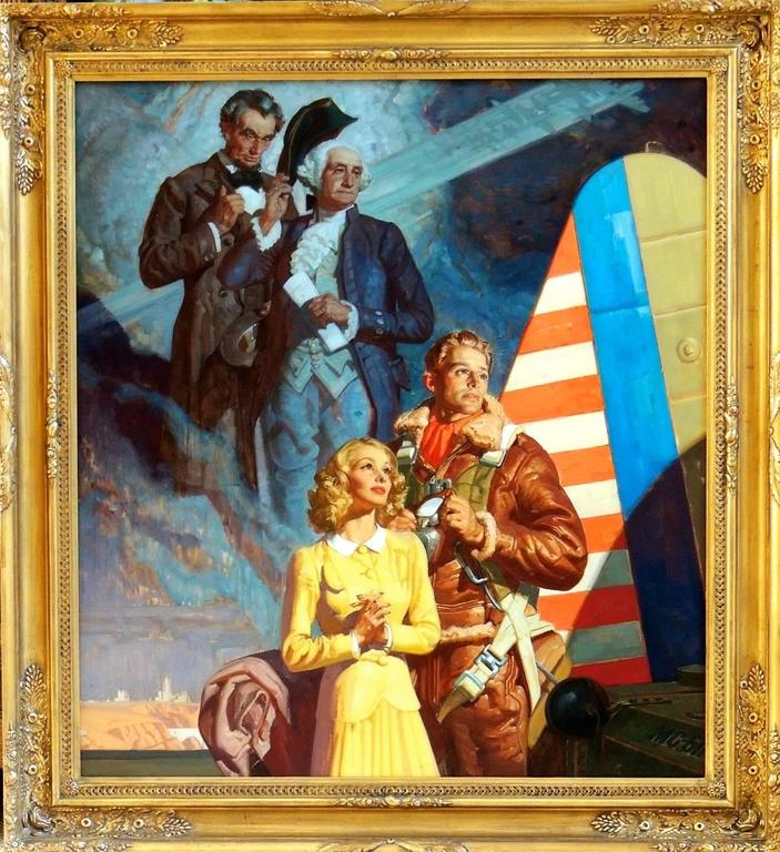 Parachuter with Abraham Lincoln and George Washington - Painting by Dean Cornwell