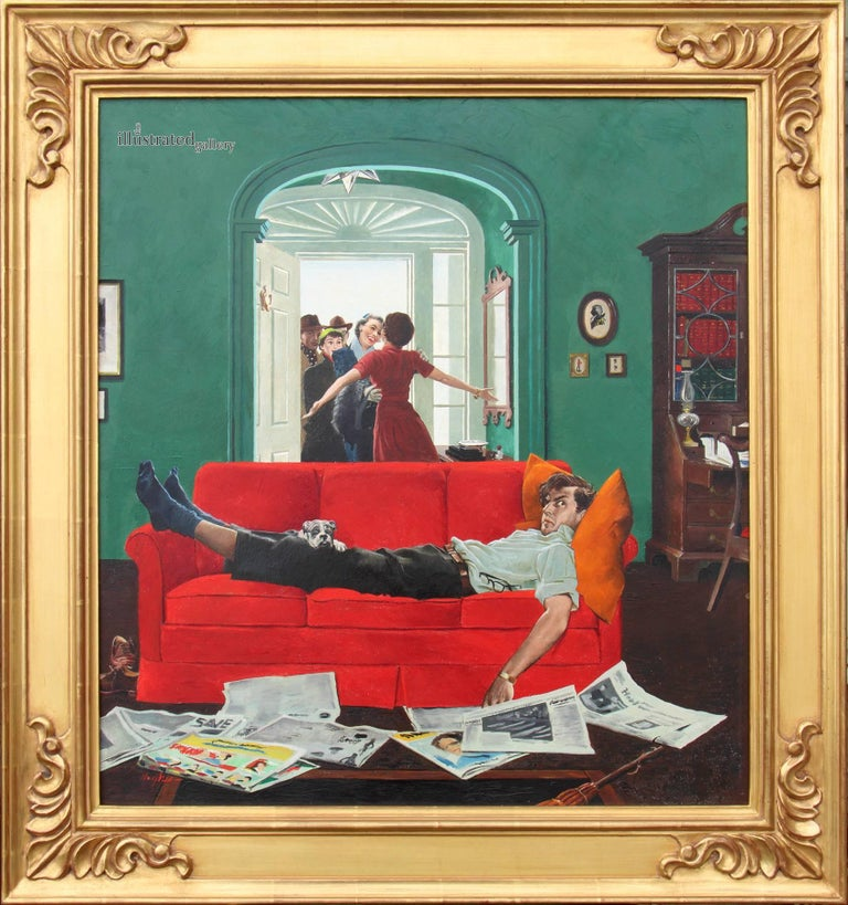 Sunday Visitors, Saturday Evening Post Cover - Painting by George Hughes
