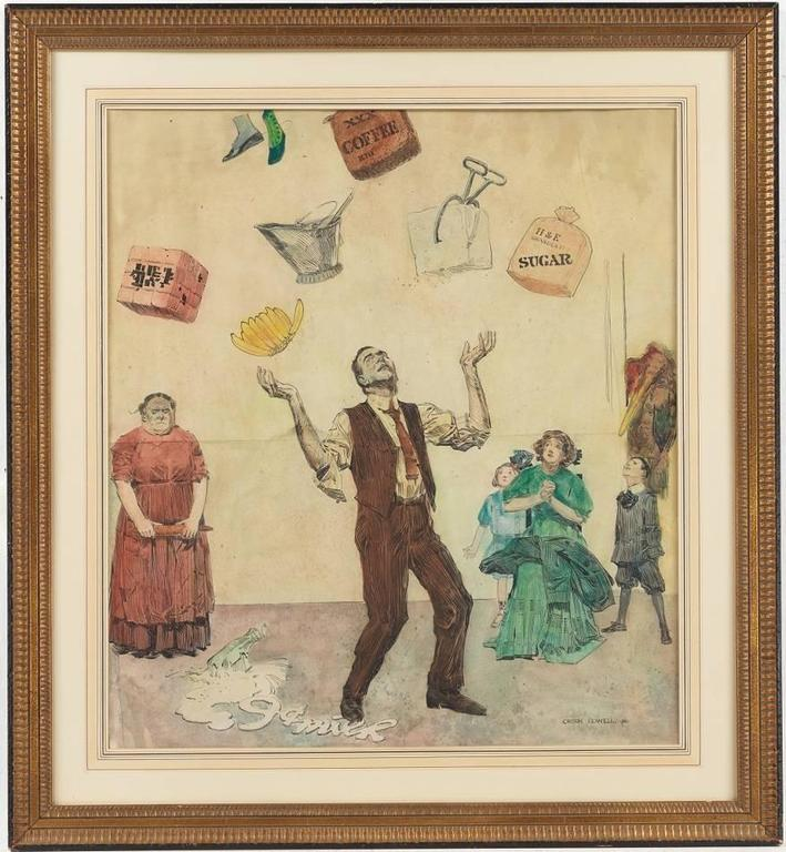 The illustration depicting an amusing narrative of a man juggling household commodities such as food, clothing, coal and ice, having dropped a bottle of milk at 9 cents, while an anxious family and a monster-in-law look on. Clearly a continuing