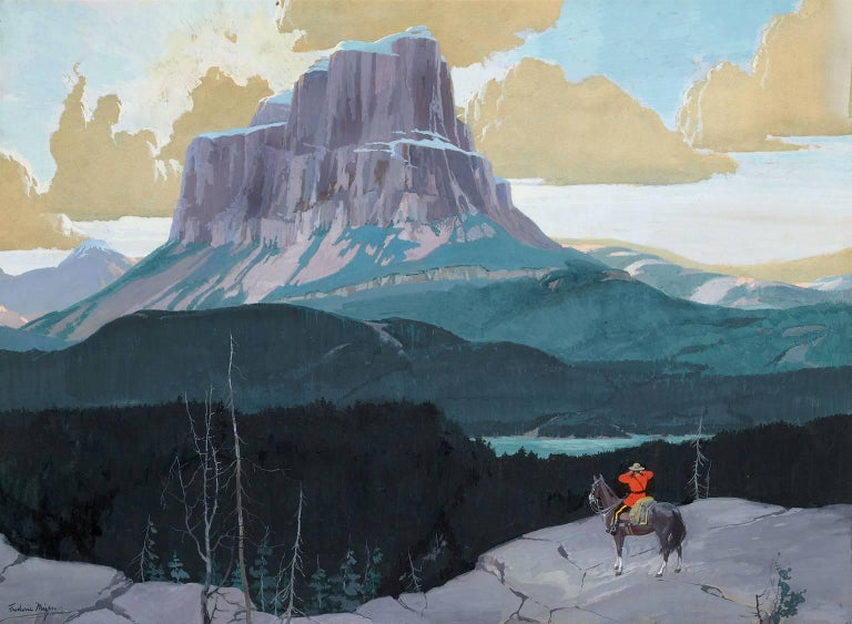FREDERIC KIMBALL MIZEN Landscape Painting - CanadianMountie Gazing at Butte