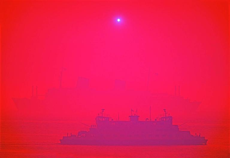 Mitchell Funk Color Photograph - Magenta Staten Island Ferry