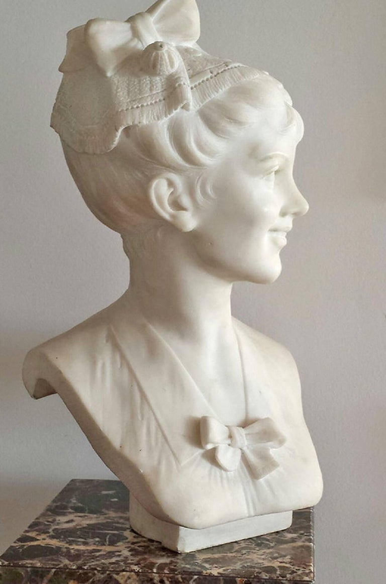 Beautiful Marble Sculpture but  Italian Sculpture Giuseppe Ciocchetti from  Roma .     Ciocchetti did public sculptures through out his life that are on display in Italy and abroad.   This is a beautiful work with fine attention to detail portraying