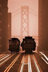 San Francisco Cable Cars against Bay Bridge